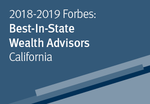 Dark blue background with text, 2018-2019 Forbes: Best-In-State Wealth Advisors (California)
